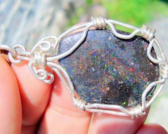 opal pendant   fire opal   black opal