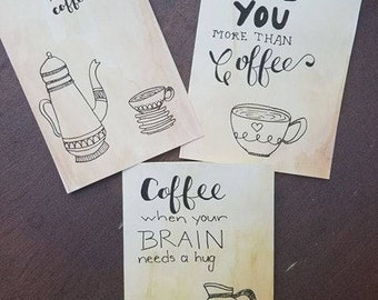 Hand-painted & Coffee Stained Watercolor Notecard Set with Hand Lettering in Ink (4x6)