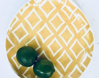 Plate Turmeric  yellow mod ornate pattern  Plate