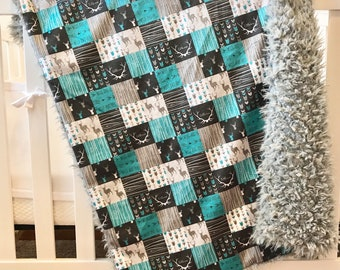 Woodland Minky Blanket | Baby Boys Blanket | Lovey Blanket | blue baby blanket | Baby gift | rustic baby blanket | Woodland baby blanket
