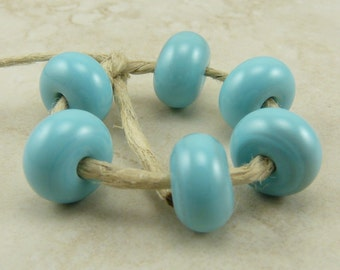 Oxidized Turquoise Lampwork Spacer Beads - Lampwork Spacer Bead Set - SRA - I ship Internationally
