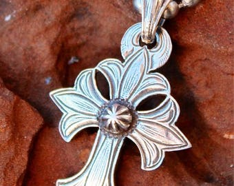 Mary Cross Necklace Sterling Silver Hand Engraved Antiqued Made In USA