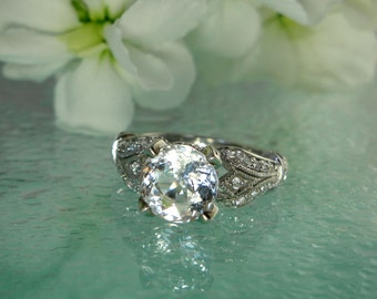 Herkimer Diamond Sterling Silver and White Topaz Ring
