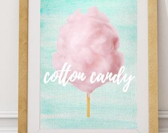 Nursery PRINTABLE, Cotton Candy Print, Girls Room Decor, Cotton Candy rt,  Nursery Pastel Wall Art, Colorful Print, Fun Print, Teal Art