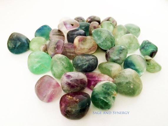 Medium Tumbled Fluorite, Fluorite Crystal Tumbled, Rainbow Fluorite, Healing Gemstone, Healing Crystals, Energy Rocks, Crystal Healing