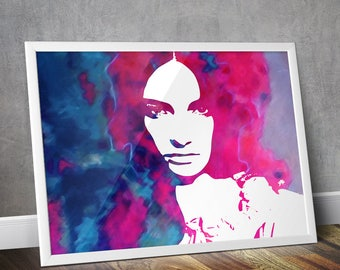 """Blue, pink and white abstract art, abstract painting, abstract print, fashion, Giclée print of Wagner Povoa.  """"WORSHIP"""""""