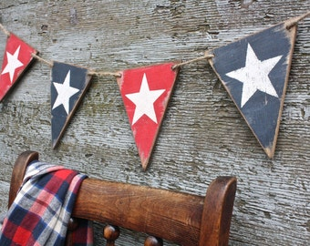 American Flag Wood Banner Memorial Day Decor Liberty USA Star Pennant 4th of July Patriotic Tags Signs