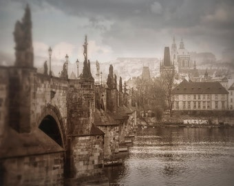 Charles Bridge Photo, Prague Photography, Misty Foggy Prague Morning, Neutral Soft Colors