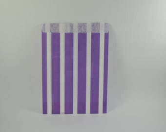 8 purple striped pattern paper bags