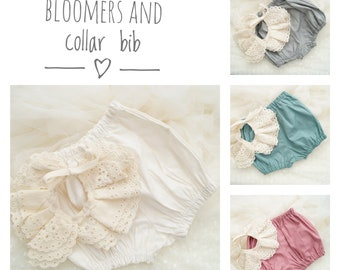 Baby bloomers and bib, Baby girl bloomers, plain bloomers, toddler bloomer, boho baby, bohemian baby clothes, boho baby clothes