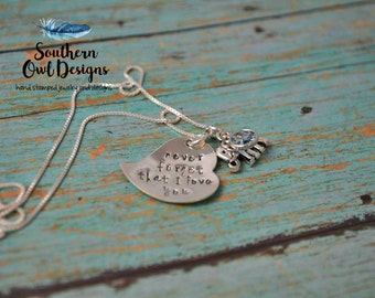 Never forget I love you necklace, stamped heart, elephant charm, daughter gift, gift for her