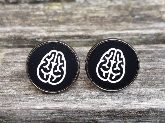 Brain Cufflinks. Black White Acrylic. Wedding, Groomsmen Gift, Dad, Anniversary, Birthday, Doctor, Neurosurgeon