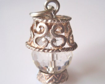 Large Silver and Crystal Lamp Charm