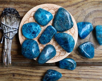 Blue apatite tumbled stones throat chakra stones teal tumbled gemstones natural apatite crystal minerals turquoise crystal healing stone