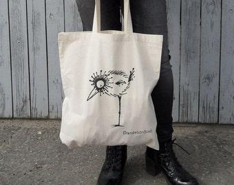 DandelionBird Cotton Shopping Tote Bag, Screenprinted Tote Bag Bird, Beach Bag