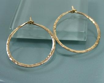 "1"" 14k Gold Filled  Hammered Texture Hoop Earrings"