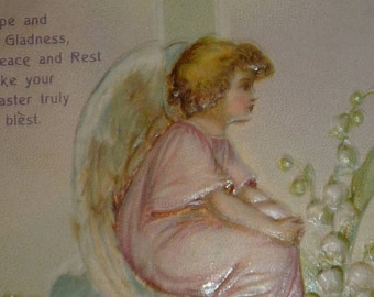 A/S Ellen Clapsaddle Angel With Cross  and Flowers Antique Easter Postcard