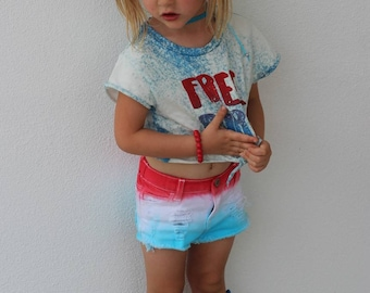 Original Bomb Pop girls distressed denim shorts baby distressed denim toddler distressed denim Red White Blue jean shorts/patriotic shorts