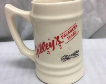 Gilley's stein/handled mug