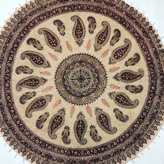 """Traditional 60"""" inches round table-cloth , hand block printed cotton tapestry , natural dyes with tassels , round mandala tablecloth"""