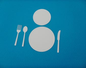 Cut out fork, knife and spoon white plates