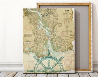 Custom Nautical Canvas Map Art, Nautical Canvas Print, Nautical Decor, Sailing Canvas Print, Beach House, Nautical Chart, Large Canvas Print