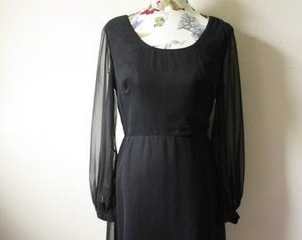 Vintage Elegant Miss California Black Dress * 1960s Dress *LBD * Boatneck * Sheer Sleeves * Sleek * Special Occassion * Size Medium
