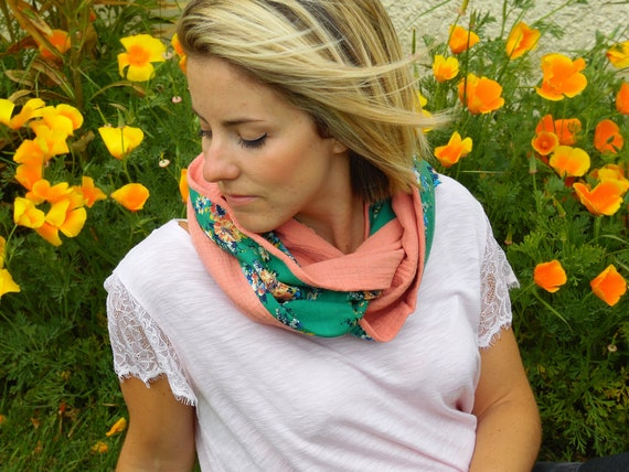 Snood women cotton for summer, tube scarf, different colors. Mothers day gift. Snood mustard, Pink salmon, teal