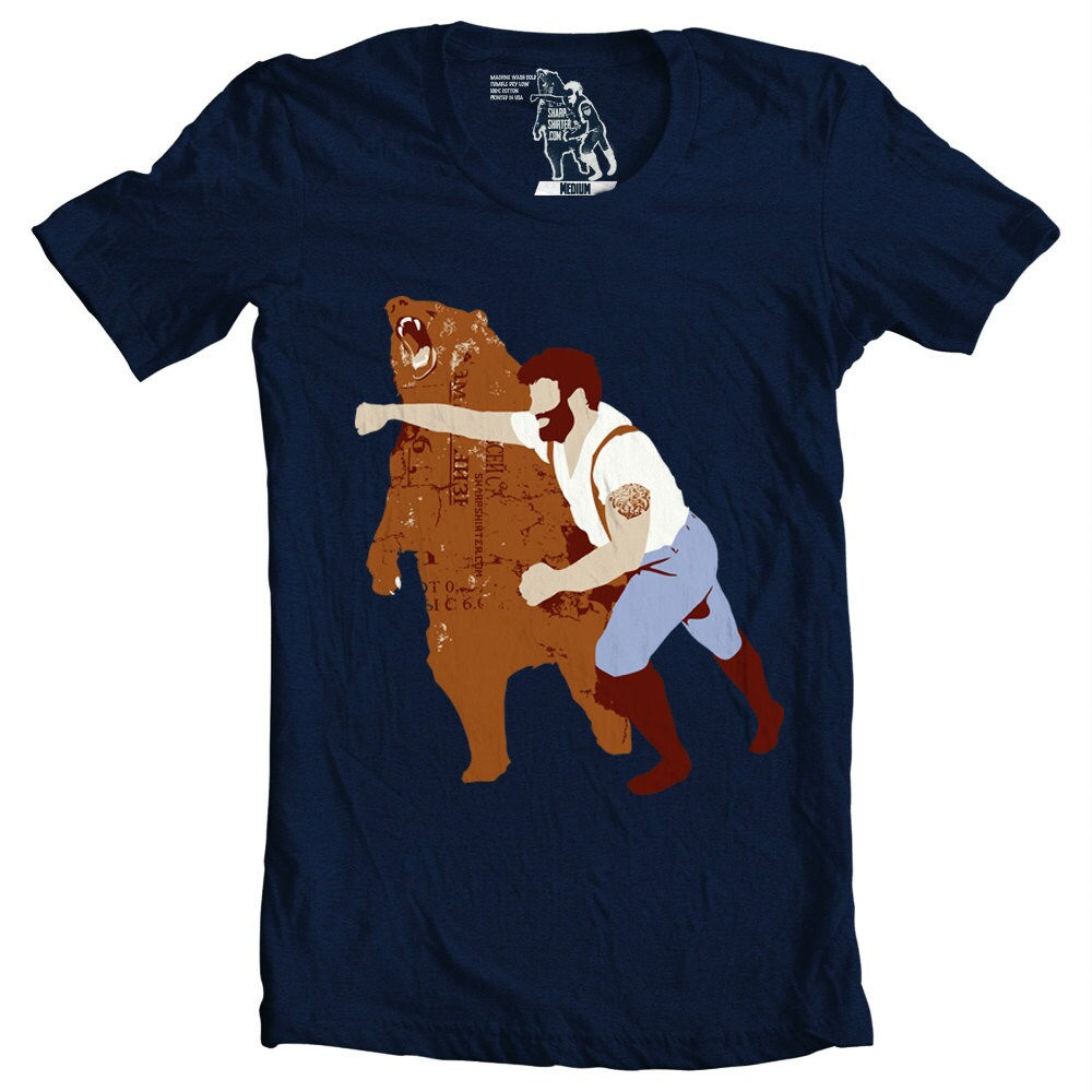 Man Punching Bear T-shirt Sizes S-3XL Available Printed in USA
