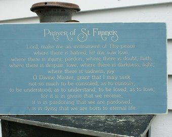 Prayer of St Francis of Assisi Make Me An Instrument of Thy Peace Carved Rustic Wooden Sign - 16x30 horizontal Catholic Rustic Wooden Sign