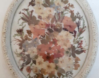 Beautiful  Handcrafted Flower Arangement With real flowers and grasses in Shabby Chic Oval Frame