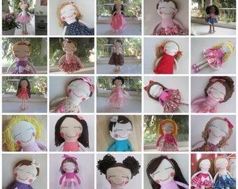 Custom Rag Doll, Custom Cloth Doll, Personalized Cloth Doll, Rag Doll, Girl Rag Doll, Softie Rag Doll, Heirloom Rag Doll, Handmade Doll