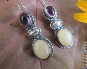 Vintage Sterling Silver Earrings Amethyst, Yellow Jasper (?)