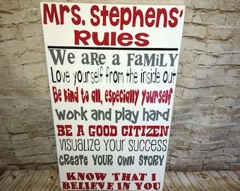 """First day of school SALE Personalized Wooden Teacher Classroom Sign 12x20"""""""
