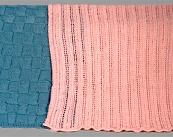 Easy Baby Blankets - Two Patterns - Blocks and Lace  - Two Sizes - Knitting Pattern PDF