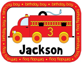 Firetruck Personalized Birthday (or non-birthday) Shirt or Bodysuit - Personalized with ANY name and age