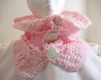 Crocheted Buttoned Cowl Baby Pink