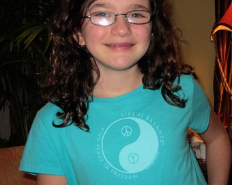 Girl's Peace Symbol T-Shirt / Peace symbol tee   Find Peace in Freedom /Inspirational  t-shirt / Gift for Girl / Kid's t-shirt
