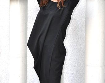 Loose Black Cotton Tunic Long Sleeves , Maxi Tunic Top, Black Loose Cotton Tunic by Eug Fashion - DR0078PM