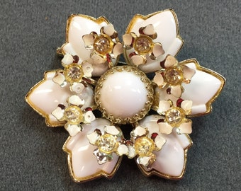 Vintage Brooch with White Glass Petals and Rhinestones-Free shipping