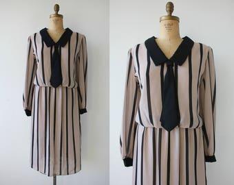 vintage 1980s dress / 80s secretary dress / 80s tie dress / 1980s black striped silky dress / beige and black dress / XL plus size