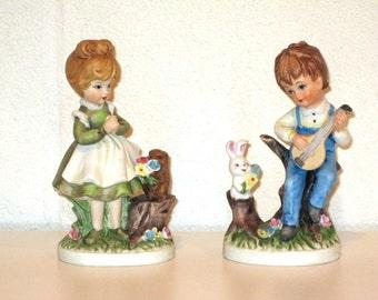 Vintage 1970s Porcelain Figurines / Spring Decor / Wedding Cake Topper / Wedding Gift