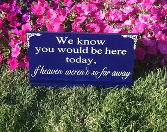 Wedding Signage - In Loving Memory -- We Know You Would be Here Today if Heaven Weren't So Far Away -  Custom Wood Signs -- Photo Prop