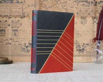 Leather hardcover journal, red and grey hand-dyed leather bound notebook, small handmade journal
