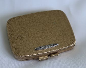 Vintage Revlon Compact with Mirror Gold and Rhinestones Love Pat