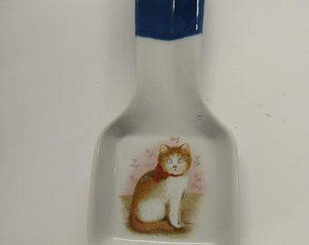 Vintage Otagriri Japanese Cat Spoon Rest Hand Painted