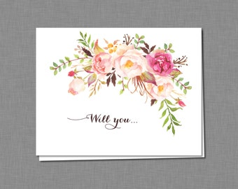 Floral Will You Be My Bridesmaid Card, Printable Bridesmaid Folded Card, Digital Instant Download Will You Be my Bridesmaid Card