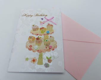 happy birthday cake rhinestone cupcake birthday card, glitter and buttons card lined with envelope