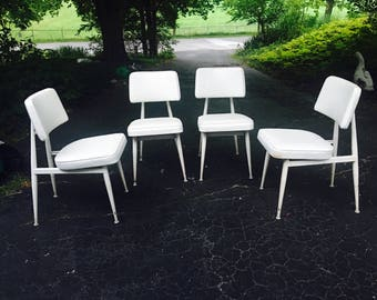 Vintage Mid Century Modern Dining Chairs in Enameled Metal by Cal-Style Furniture Mfg. Co (set of 4)