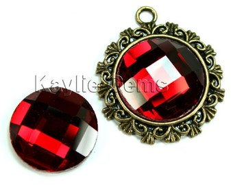 Mirror Glass Cabochon cab 20mm Round Checker Cut Faceted Dome -Ruby - 2pcs